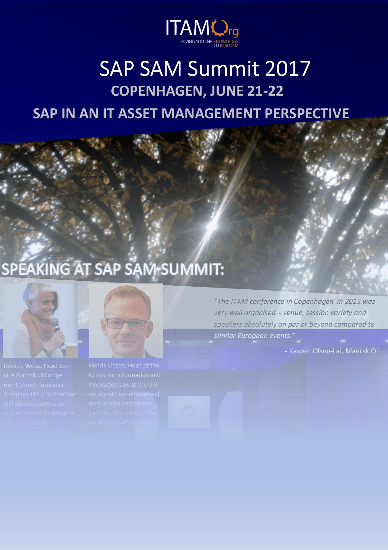 June 21-22 – Copenhagen – ITAM Conference/SAP SAM Summit 2017