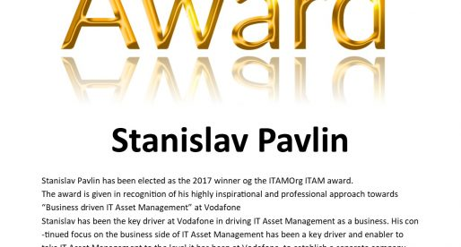 Stanislav Pavlin winner of the IT Asset Management Award 2017