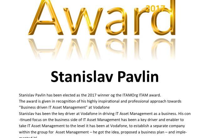 Stanislav Pavlin winner of the IT Asset Management Award 2017